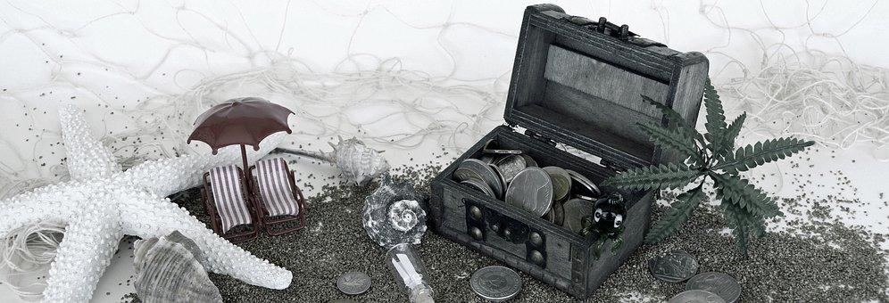 Treasure Chest, Sand, Sun Loungers, Squid, Palm