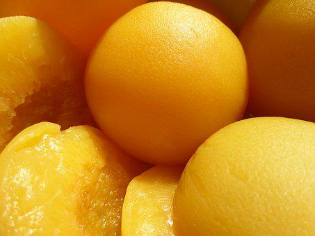 Peaches, In A Can, Yellow, Fruit, Vitamins, Sweet