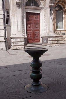 Payment, Antique, Table, Bronze, Patina, Grain