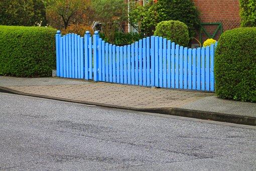 Goal, Garden Gate, Fence, Hedge, Blue, Rest, Mood