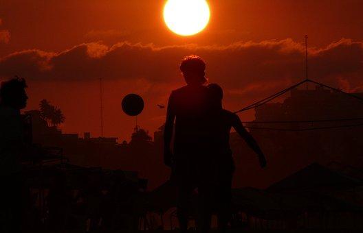 Acapulco, Football, Beach, Boys, Game, Sunset, The Sun