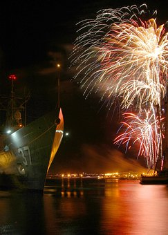 Pearl Harbor, Hawaii, Ships, Fireworks, Celebration
