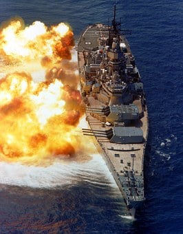 Battleship, Us Navy, Broadside, Firing, Guns, Flames
