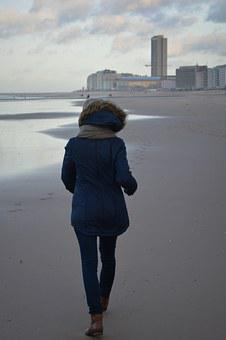 Winter, Winter Clothing, Walk On The Beach, Woman