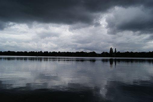 Lake, Rain, Waters, Atmosphere, Water, Drip, Dark