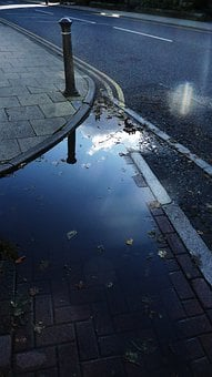 Puddle, Road, Rain, Pavement, Street, Wet, Weather
