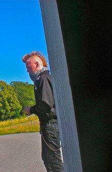 Punk, Hair Haircut, Bus Shelter, Järna, Sörmland