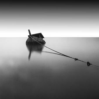 Backlit, Black And White, Blur, Boat, Light, Monochrome