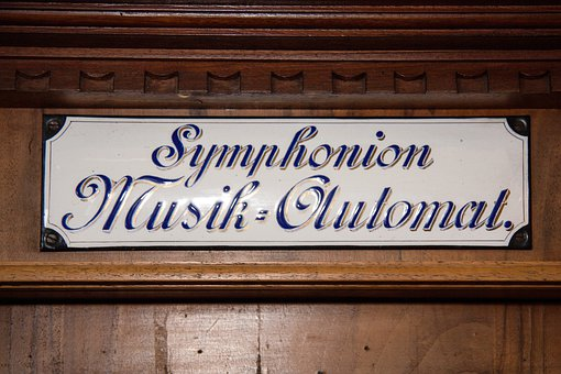 Mechanical Musical Instruments, Symphoniun, Enamel Sign