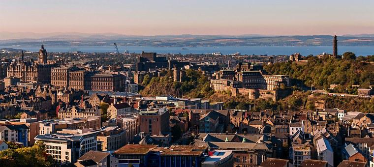 Edinburgh, View Of Edinburgh, Scotland, Sunset