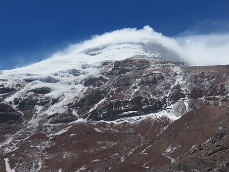 Volcano, Chimborazo, Mountain, Rock, Snow, Cap