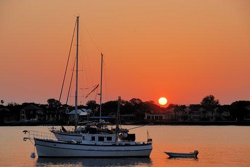 Boats, Moored, Sunrise, Anchor, Morning, Sky