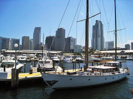 Miami, Florida, Sailing Vessel, Skyline, Building, Sky