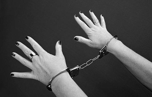 Handcuffs, Prisoners, Woman, Female, Crime, Sin