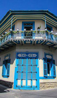 Cafe, Cafeteria, Architecture, Blue, Street, Village