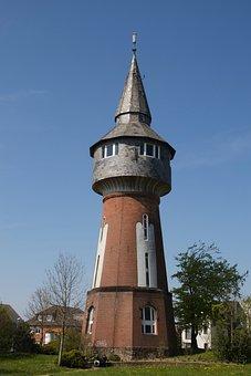 Water Tower, Husum, Building, Landmark