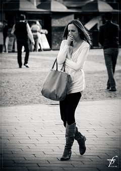 Thinking, In Thought, Girl, Woman, Street Life
