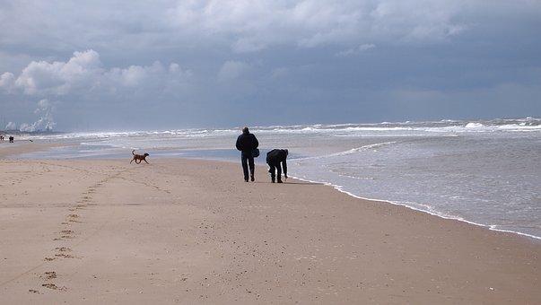 North Sea, Sea, Waves, Beach, Horizon, Steps, People