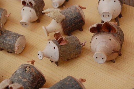 Doll, Pig, Wood Doll, Handicraft, Hallstatt