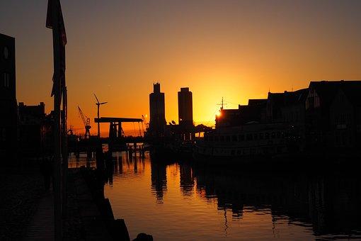 Port, Sunset, Husum, Afterglow, Evening