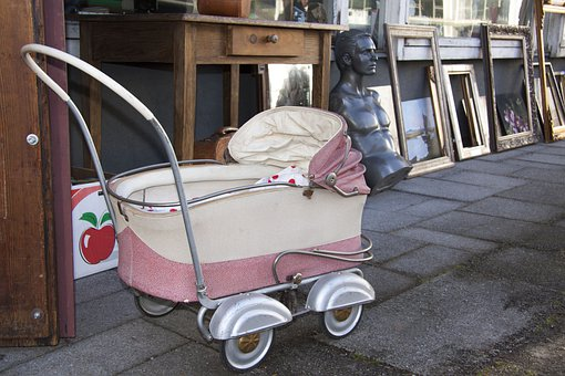 Flea Market, Baby Carriage, Bust, Frame, Junk