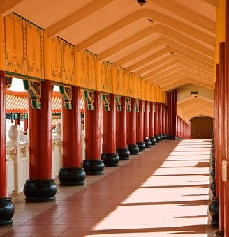 Temple, Buddhism, Columns, Pillars, Perspective