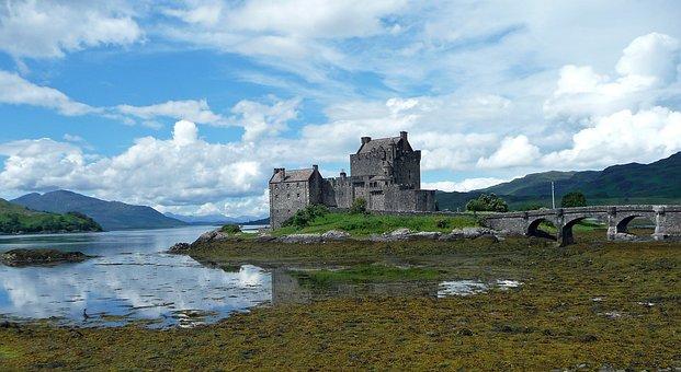 Eilean Donan Castle, Scotland, Landscape, Clouds, Water