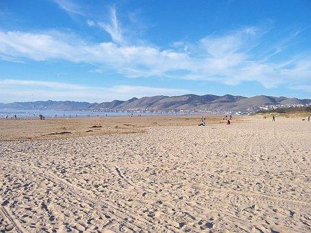 California, Grover Beach, Sky, Clouds, Sand, Sea, Ocean