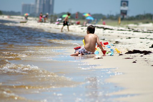 Boy, Beach, Playing In Sand, Summer, People, Water