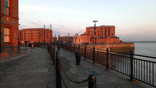 Port, Alber Dock, Liverpool, Mersey, Sunset, Jetty