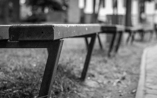 Bench, Laiček Series, Black And White, Park, Texture