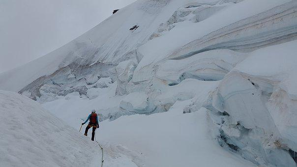 Glacier, High Speed, Crevasses, Seracs, Ice, Eisabbruch