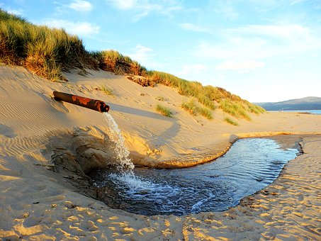 Pipe, Dune, Sand, Water, Sea, Waste, Plumbing, Outlet