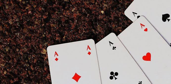 Playing Cards, Aces, Four, Card Game, Gambling, Heart