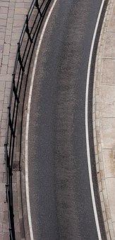 Road, Curve, Bend, Railing, Tarmac, Asphalt, Radius