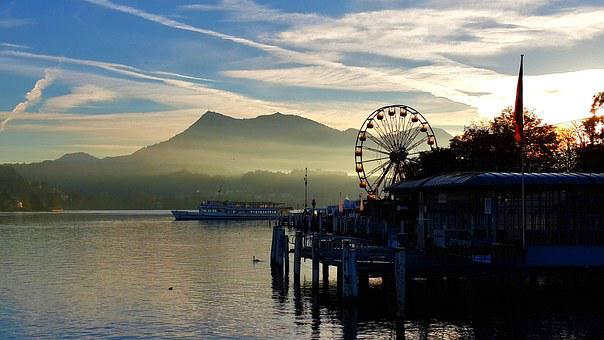 Peaceful, Sunset, Lake Lucerne, Water, Wheel Of Fortune