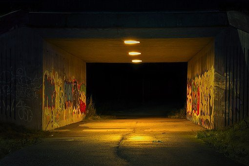 The Tunnel, Night, Grim, Scary, Graffiti, Underpass