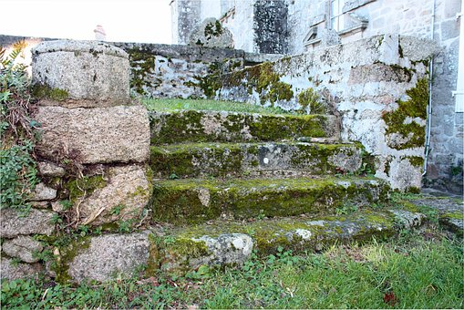 Stone Steps, Moss Covered Steps, Old Stone Stairs