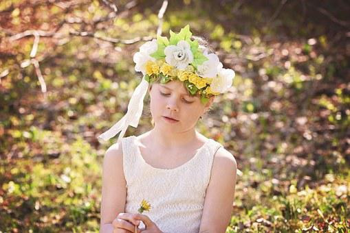 Human, Child, Girl, Out, Nature, Headdress, In Thoughts