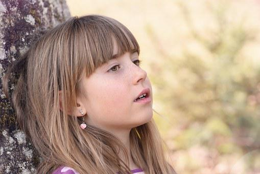 Human, Child, Girl, Face, View, Blond, Long Hair, Tree