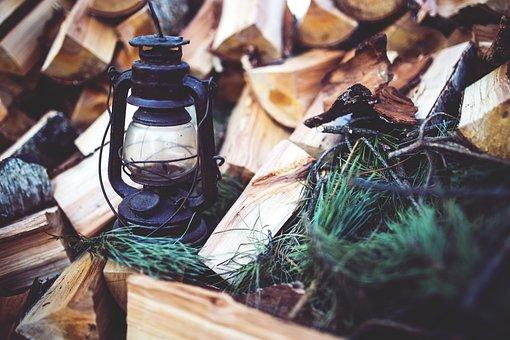 Kerosene, Lamp, Wood, Paraffin, Vintage, Old, Brown
