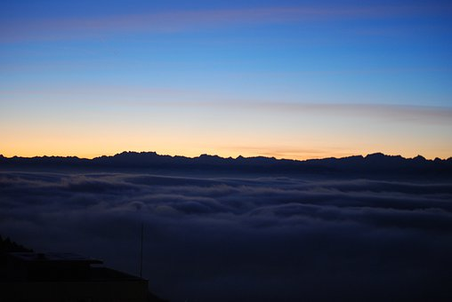 Alps, Sunrise, Sea Of Fog, Mountains, Fog, Morning