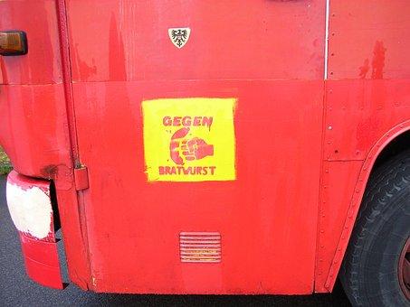 Truck, Graffiti, Red, Yellow, Anarchy, Anarchist