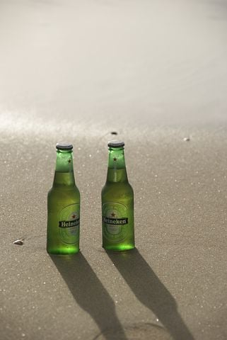 Beer Bottles, Beer, Beach, Sand, Sun, Heineken, Bottle