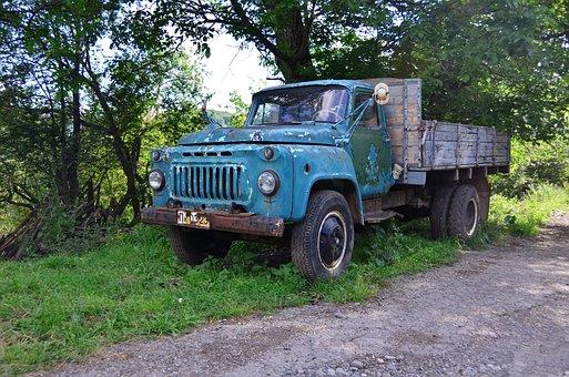 Freight Car, Truck, Gaz-3307, Old, Abandonate, Russian