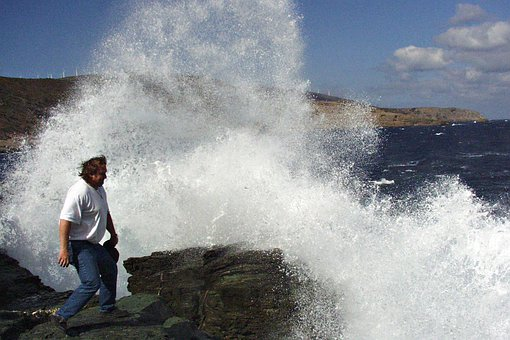 Wave, Breakers, Sea, Water, Person, Man, Isle
