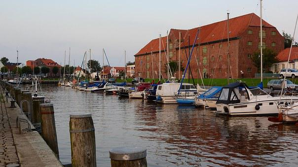 Port, City, Small, River, Bay, Ship, Northern Germany