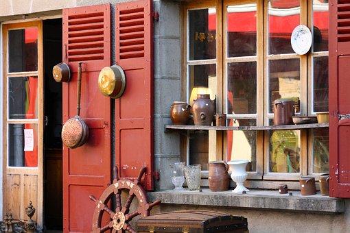 Pots, Pans, Copper Pans, Vintage Pots, Antique Shop