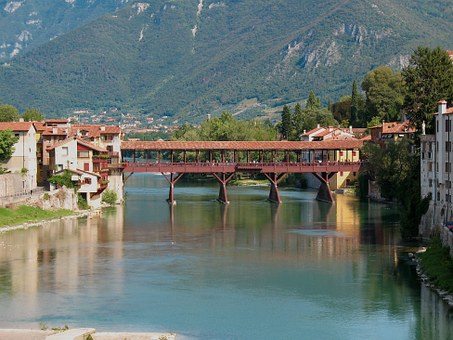 Bassano Del Grappa, Upstream, Bridge, Alpini, Old