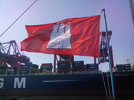 Hamburg, Flag, Boat Trip, Windy, Flutter, Blow, Red